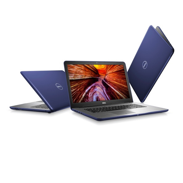 Three Dell Inspiron 17 5000 Series (Model 5767) Non-Touch 17-inch notebook computer with Intel processor, codename Gamora, shown in various orientations.